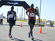 GEORGE, SOUTH AFRICA - OCTOBER 21: Mthunzi Mnisi of Athletics Gauteng North (AGN) and Pheagane Manamela of Central Gauteng Athletics (CGA) in the mens 50km during the ASA Race Walking Championship at Pacaltsdorp on October 21, 2017 in Goerge, South Africa. (Photo by Roger Sedres/Gallo Images)