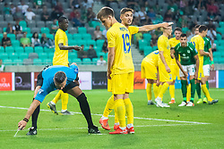 Damir Skomina head referee and Ziga Repas of NK Domzale during football match between NK Olimpija and NK Domzale in 2nd Round of Prva liga Telekom Slovenije 2019/20, on July 21st, 2019, in Stadium Stozice, Ljubljana, Slovenia. Photo by Grega Valancic / Sportida