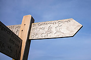 Signpost to St Catherine's Church at Boot in Eskdale, Lake District, Cumbria, England
