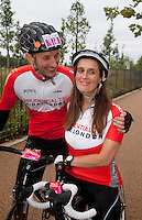 {Prudential RideLondon-Surrey100. Gary Watson and Lisa Russell who are getting married on the route}<br /> Prudential RideLondon, the world's greatest festival of cycling, involving 70,000+ cyclists – from Olympic champions to a free family fun ride - riding in five events over closed roads in London and Surrey over the weekend of 9th and 10th August. <br /> <br /> Photo: Roger Allen for Prudential RideLondon<br /> <br /> See www.PrudentialRideLondon.co.uk for more.<br /> <br /> For further information: Penny Dain 07799 170433<br /> pennyd@ridelondon.co.uk