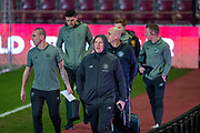 Manager of Celtic FC, Neil Lennon arrives with his players before the Ladbrokes Scottish Premiership match between Heart of Midlothian FC and Celtic FC at Tynecastle Park, Edinburgh, Scotland on 18 December 2019.