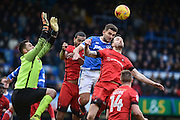 Portsmouth Midfielder, Gareth Evans (26) wins a header from a Portsmouth corner during the EFL Sky Bet League 2 match between Portsmouth and Leyton Orient at Fratton Park, Portsmouth, England on 14 January 2017. Photo by Adam Rivers.