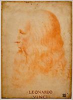 Italie, Milan, Veneranda Biblioteca Ambrosiana, Portrait de Léonard de Vinci, attribué à Francesco Melzi // Italy, Milan, Veneranda Biblioteca Ambrosiana, Portrait of Leonardo da Vinci, attributed to Francesco Melzi