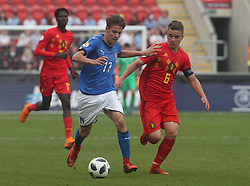 May 17, 2018 - United Kingdom - L-R Nicolo Fagioli of Italy Under 17  and Nicolas Raskin of Belgium Under 17.during the UEFA Under-17 Championship Semi-Final match between Italy U17s against Belgium U17s at New York Stadium, Rotherham United FC, England on 17 May 2018. (Credit Image: © Kieran Galvin/NurPhoto via ZUMA Press)