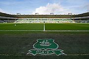 General view inside Home Park Stadium with the club logo before the EFL Sky Bet League 1 match between Plymouth Argyle and Accrington Stanley at Home Park, Plymouth, England on 22 December 2018.