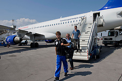 20.08.2013, Sofia, BUL, UEFA CL Play off, PFC Ludogorez Razgrad vs FC Basel, Ankunft FC Basel in Sofia, im Bild Valtentin Stocker bei der Ankunft in Sofia auf dem Flughafen // during departure FC Basel to the UEFA Champions League Play off Match between PFC Ludogorez Razgrad vs FC Basel in Sofia, Bulgaria on 2013/08/20. EXPA Pictures © 2013, PhotoCredit: EXPA/ Freshfocus/ Andy Mueller<br /> <br /> ***** ATTENTION - for AUT, SLO, CRO, SRB, BIH only *****
