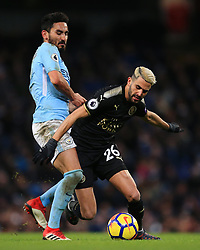 Riyad Mahrez of Leicester City akes on Ilkay Gundogan of Manchester City - Mandatory by-line: Matt McNulty/JMP - 10/02/2018 - FOOTBALL - Etihad Stadium - Manchester, England - Manchester City v Leicester City - Premier League