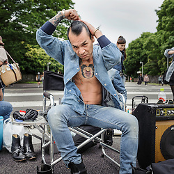 Group of people that gathers every weekend in Yoyogi park, Tokio. They dress and dance rockabilly, Japan, Asia