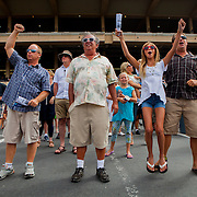 DEL MAR, CA - AUGUST 13, 2014: Lenny Jameson, Petar Bodjanac, Julia Bozir and Mike Bozir watch a race at the Del Mar Thoroughbred Club. CREDIT: Sam Hodgson for The New York Times