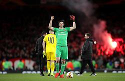 Arsenal goalkeeper Petr Cech acknowledges fans after the final whistle