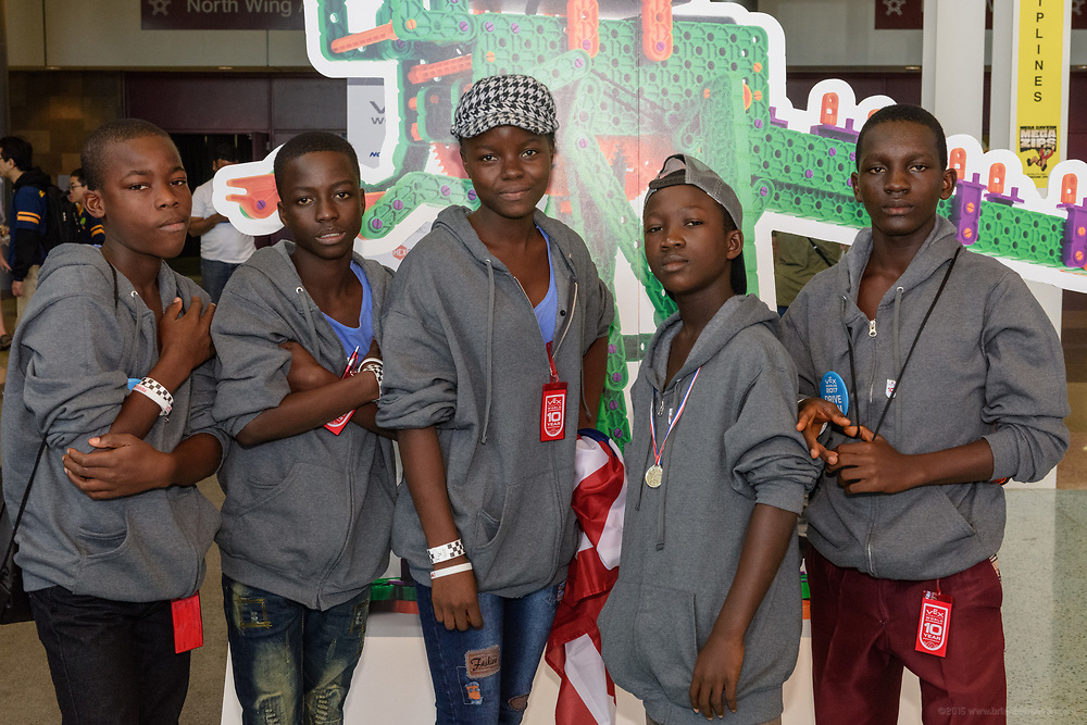 Team Ahjay, five students in theWahjay-STEMrobotics education program at the World Wide Mission Standard Academy (in partnership with the Nyonblee Cares Foundation) in Buchanan City, Liberia, participate in the International VEX Worlds 2017 competition Monday, April 24 in Louisville, Ky. Giewee Giah, CEO & Founder of the Wahjay-STEM, board member Jenny Spalding and teacher Onana N. Glassco accompanied students Dyuote Blaye, Samuel A. Gayne, Baby-Girl Jacobs, Nyundeh Gorwor and Blojay Moore as they competed in the VEX games held at the Kentucky Expostion Center. (Photo by Brian Bohannon)