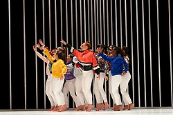 "Edinburgh, Scotland, UK. 21 August 2019.  Pictured; Young local dancers forming the Scottish ""Sugar Army"" performing in Hard to Be Soft: A Belfast Prayer by Oona Doherty and Prime Cut Productions at the Lyceum Theatre at the Edinburgh International festival.<br /> Hard to Be Soft is a dance piece which looks behind the masks of violence and machismo to the inner lives of Belfast hard men and strong women.<br /> Cast in four episodes, Hard to Be Soft features solos from Doherty herself, a warrior-like hip-hop dance group, and a choreographed wrestling match for a male duet.  Iain Masterton/Alamy Live News."