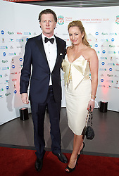 LIVERPOOL, ENGLAND - Tuesday, May 19, 2015: Former Liverpool player Steve McManaman and wife Victoria arrive on the red carpet for the Liverpool FC Players' Awards Dinner 2015 at the Liverpool Arena. (Pic by David Rawcliffe/Propaganda)