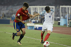 October 28, 2017 - Kolkata, West Bengal, India - England George Mceachran (jersey 4) and Spain Ferran Torres (jersey 7) and in actions the FIFA U 17 World Cup India 2017 Final match in Kolkata. Player of England and Spain in action during the FIFA U 17 World Cup India 2017 Final match on October 28, 2017 in Kolkata. England wins FIFA U 17 World Cup 5 - 2 goals against Spain. (Credit Image: © Saikat Paul/Pacific Press via ZUMA Wire)