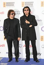 © Licensed to London News Pictures. 04/07/2014, UK. Geezer Butler; Tony Iommi; Black Sabbath, Nordoff Robbins O2 Silver Clef Awards, London Hilton Park Lane, London UK, 04 July 2014. Photo credit : Richard Goldschmidt/Piqtured/LNP