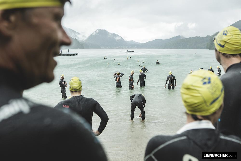 competitors prepare for swimming across the Lake (4,2km)