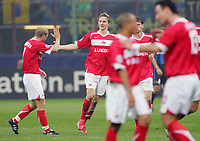 "Roman Pavlyuchenko (Spartak Mosca) festeggiato dopo il gol da Denis Boyarintsev<br /> Roma Pavlyuchenko (Spartak Mosca) celebrates with Denis Boyarintsev (Spartak Mosca) after scoring<br /> Champions League 2006/07 Group Stage Group B <br /> 18 Oct 2006 (match day 3)<br /> Inter-Spartak Mosca 2-1<br /> ""Giuseppe Meazza"" Stadium-Milano-Italy<br /> Photographer Luca Pagliaricci Inside"