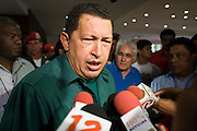 12 JANUARY 2007 - MANAGUA, NICARAGUA: HUGO CHAVEZ, President of Venezuela talks to reporters in Managua before Chavez left Nicaragua to return to Venezuela. Chavez has promised massive amounts of aid  for Nicaragua including free and discounted oil and portable electric generating stations. Nicaragua is the second poorest country in the western hemisphere.  PHOTO BY JACK KURTZ