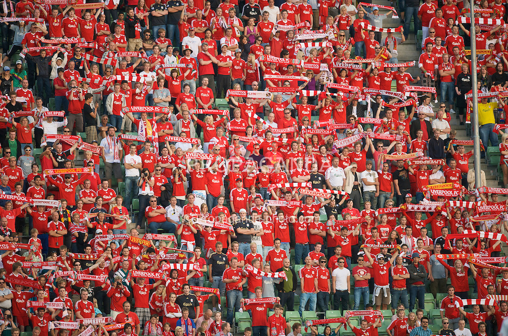 OSLO, NORWAY - Wednesday, August 5, 2009: Liverpool's Norwegian supporters in full voice during a preseason match against FC Lyn Oslo at the Bislett Stadion. (Pic by David Rawcliffe/Propaganda)