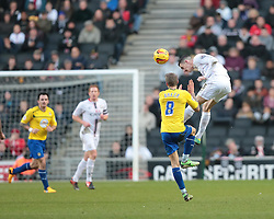 Milton Keynes Dons' Shaun Williams challenges for the ball - Photo mandatory by-line: Nigel Pitts-Drake/JMP - Tel: Mobile: 07966 386802 30/11/2013 - SPORT - Football - Milton Keynes - Stadium mk - MK Dons v Coventry City - Sky Bet League One