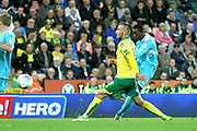 Burton Albion's Marvin Sordell shoots during the EFL Sky Bet Championship match between Norwich City and Burton Albion at Carrow Road, Norwich, England on 12 September 2017. Photo by John Potts.