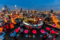 The Chill Skybar on the  25th floor of AB Tower, which has tremendous panoramic views over the city, District 1, Ho Chi Minh CIty (Saigon), Vietnam.