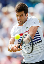 Aegon International 2017- Eastbourne - England - ATP Men's Singles Final. Novak Djokovic of Serbia in action playing two handed backhand against Gael Monfils of France. Saturday, 1st July, 2017 - Devonshire Park.<br /> (Photo by Nick Walker/Sport Picture Library)