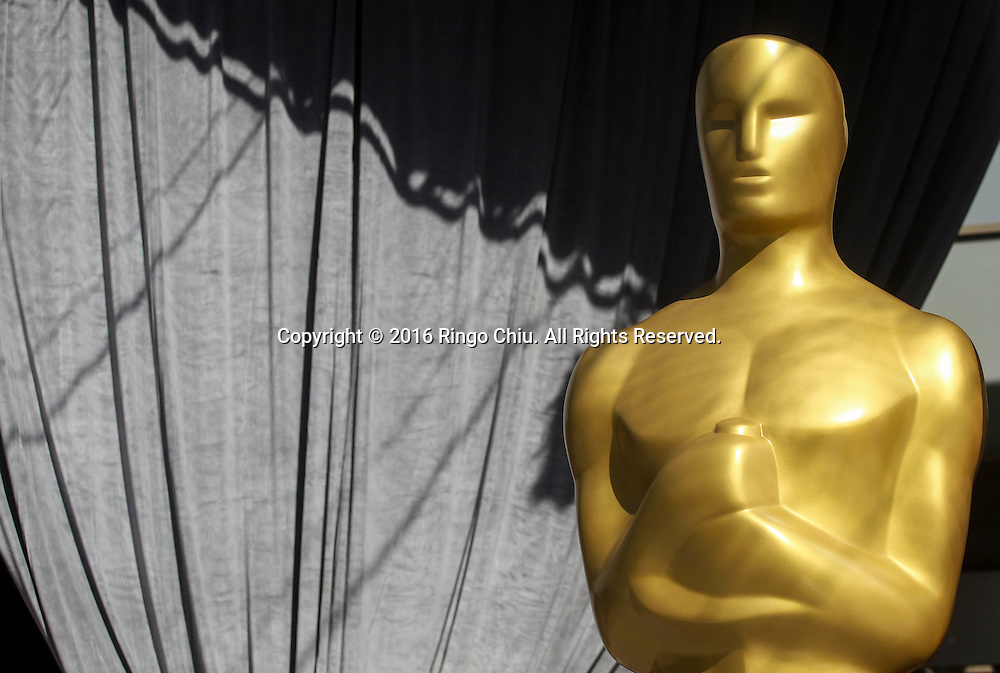An Oscar statue stands at the red carpet arrivals area in front of the Dolby Theatre on Thursday Feb. 25, 2016 in Los Angeles. The 88th Academy Awards will be held Sunday, February 28, 2016. (Photo by Ringo Chiu/PHOTOFORMULA.com)<br /> <br /> Usage Notes: This content is intended for editorial use only. For other uses, additional clearances may be required.