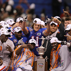 Jan 01, 2010; New Orleans, LA, USA;  Florida Gators players celebrate on stage following a win over the Cincinnati Bearcats in the 2010 Sugar Bowl at the Louisiana Superdome. Florida defeated Cincinnati 51-24.  Mandatory Credit: Derick E. Hingle-US PRESSWIRE.