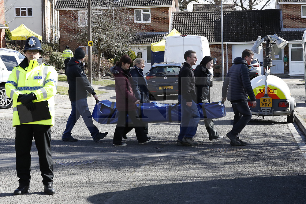 © Licensed to London News Pictures. 08/03/2018. Salisbury, UK. Salisbury. Police activity at the home of Sergei Skripal. Former Russian spy Sergei Skripal, his daughter Yulia and a policeman are still critically ill after being poisoned with nerve agent. The couple where found unconscious on bench in Salisbury shopping centre. Authorities continue to investigate. Photo credit: Peter Macdiarmid/LNP