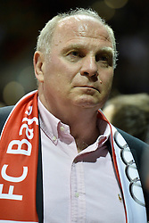 25.02.2014, Audi Dome, Muenchen, GER, Beko Basketball BL, FC Bayern Muenchen Basketball vs Artland Dragons, 22. Runde, im Bild Uli Hoeness, Praesident des FC Bayern Muenchen, Einzelbild // during the Beko Basketball Bundes league 22. round match between FC Bayern Munich Basketball and Artland Dragons at the Audi Dome in Muenchen, Germany on 2014/02/25. EXPA Pictures &copy; 2014, PhotoCredit: EXPA/ Eibner-Pressefoto/ Buthmann<br /> <br /> *****ATTENTION - OUT of GER*****