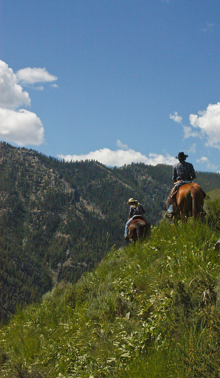 Horse back riding at the Diamond D Ranch in the Frank Church Wilderness, Idaho.