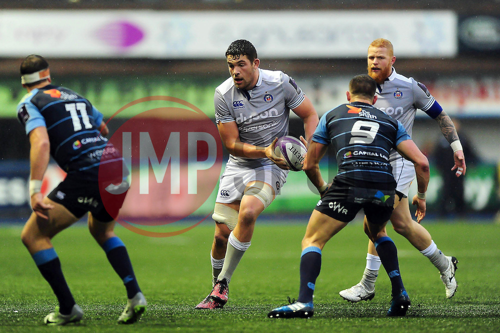 Charlie Ewels of Bath Rugby in possession - Mandatory byline: Patrick Khachfe/JMP - 07966 386802 - 10/12/2016 - RUGBY UNION - Cardiff Arms Park - Cardiff, Wales - Cardiff Blues v Bath Rugby - European Rugby Challenge Cup.