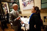 'Rain Man' screenwriter Barry Morrow, left, talks with 2012 Kim Peek Award winner actress Carrie Fisher at Valter Osteria Restaurant, Friday, Nov. 9, 2012.