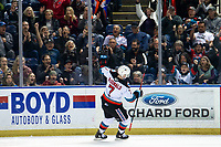 KELOWNA, BC - JANUARY 4:  Conner McDonald #7 of the Kelowna Rockets celebrates a shoot out goal against the Vancouver Giants at Prospera Place on January 4, 2020 in Kelowna, Canada. (Photo by Marissa Baecker/Shoot the Breeze)
