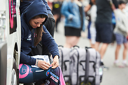Rachele Barbieri (ITA) pins her numbers at Santos Women's Tour Down Under 2019 - Stage 1, a 112.9 km road race from Hahndorf to Birdwood, Australia on January 10, 2019. Photo by Sean Robinson/velofocus.com