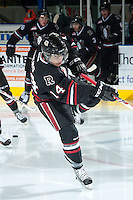 KELOWNA, CANADA -FEBRUARY 5: Rhyse Dieno RW #14 of the Red Deer Rebels warms up against the Kelowna Rockets on February 5, 2014 at Prospera Place in Kelowna, British Columbia, Canada.   (Photo by Marissa Baecker/Getty Images)  *** Local Caption *** Rhyse Dieno;