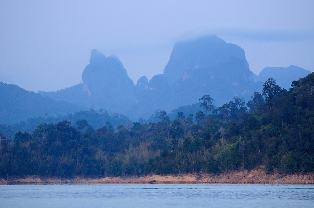 Early morning on Ratchaprapha Dam, Lake, Khao Sok National Park, Thailand