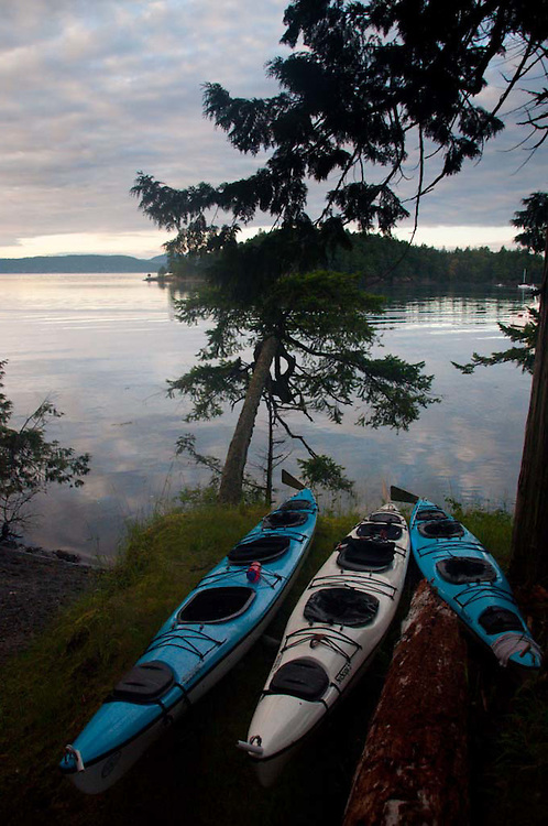 Kayaks at Prevost Harbor Campsite, Stuart Island, San Juan Islands, Washington, US