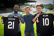 New Dundee FC signings Roarie Deacon and Scott Allan pictured with manager Neil McCann at Dens Park, Dundee, Photo: David Young<br /> <br />  - &copy; David Young - www.davidyoungphoto.co.uk - email: davidyoungphoto@gmail.com