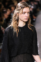 Susanne Knipper walks the runway wearing Jason Wu Fall 2016, Hair by Paul Hanlon for Morocconoil, Makeup by Yadim for Maybelline, shot by Thomas Concordia during New York Fashion Week on February 12, 2016