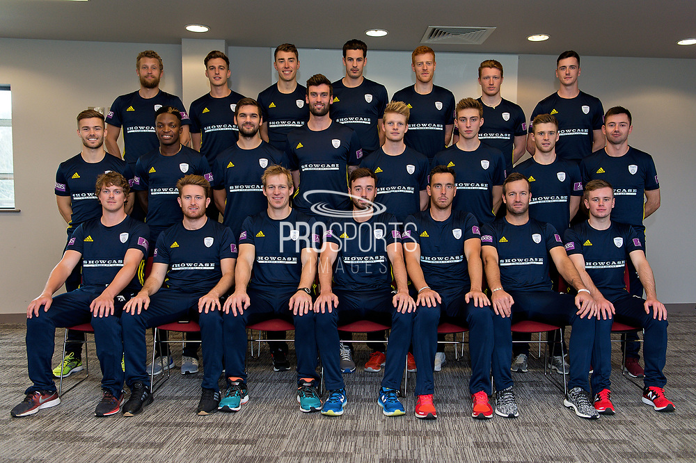Hampshire squad Royal London One Day Cup Kit. (back row l-r) Gareth Berg, Brad Wheal, Joe Weatherley, Chris Wood, Ryan Stevenson, Thomas Alsop, Chris Sole. (middle row l-r) Lewis McManus, Fidel Edwards, Rilee Russouw, Reece Topley, Brad Taylor, Asher Hart, Calvin Dickinson, Ian Holland. (front row l-r) Sam Northeast, Liam Dawson, Jimmy Adams, James Vince, Kyle Abbott, Sean Ervine, Mason Crane.   during the Hampshire County Cricket Club Media Day at the Ageas Bowl, Southampton, United Kingdom on 10 April 2018. Picture by Dave Vokes.