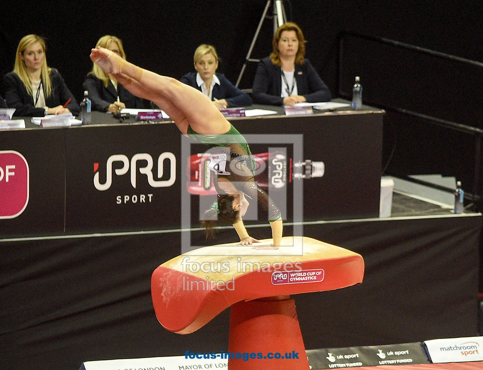 Ana Perez on the vault Women's iPro World Cup of Gymnastics 2017 at the O2 Arena, London, UK.<br /> Picture by Hannah Fountain/Focus Images Ltd 07814482222<br /> 08/04/2017