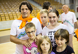 Zlatko Zahovic with children od Youth house of Malci Beliceve during football and basketball charity event All Legends by Olimpiki, on June 9, 2015 in Hala Tivoli, Ljubljana, Slovenia. Photo by Vid Ponikvar / Sportida