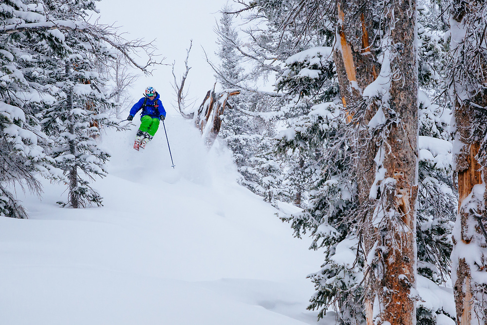 Tanner Flannagan hits deep blower powder during a monsterous storm cycle at Jackson Hole Mountain Resort in Teton Village, Wyoming.