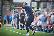 Carlisle United Manager Steven Pressley screams at his players in the last few minutes of the EFL Sky Bet League 2 match between Bradford City and Carlisle United at the Utilita Energy Stadium, Bradford, England on 21 September 2019.