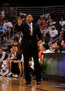 Sep 5, 2010; Phoenix, AZ, USA; Phoenix Mercury head coach Corey Gaines reacts from the sidelines against the Seattle Storm during in game two of the western conference finals in the 2010 WNBA Playoffs at US Airways Center.  The Storm defeated the Mercury 91-88.  Mandatory Credit: Jennifer Stewart-US PRESSWIRE