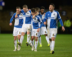 James Clarke of Bristol Rovers celebrates with Lee Brown of Bristol Rovers and Ollie Clarke of Bristol Rovers at full time. - Mandatory byline: Alex James/JMP - 17/01/2016 - FOOTBALL - The Kassam Stadium - Oxford, England - Oxford United v Bristol Rovers - Sky Bet League Two