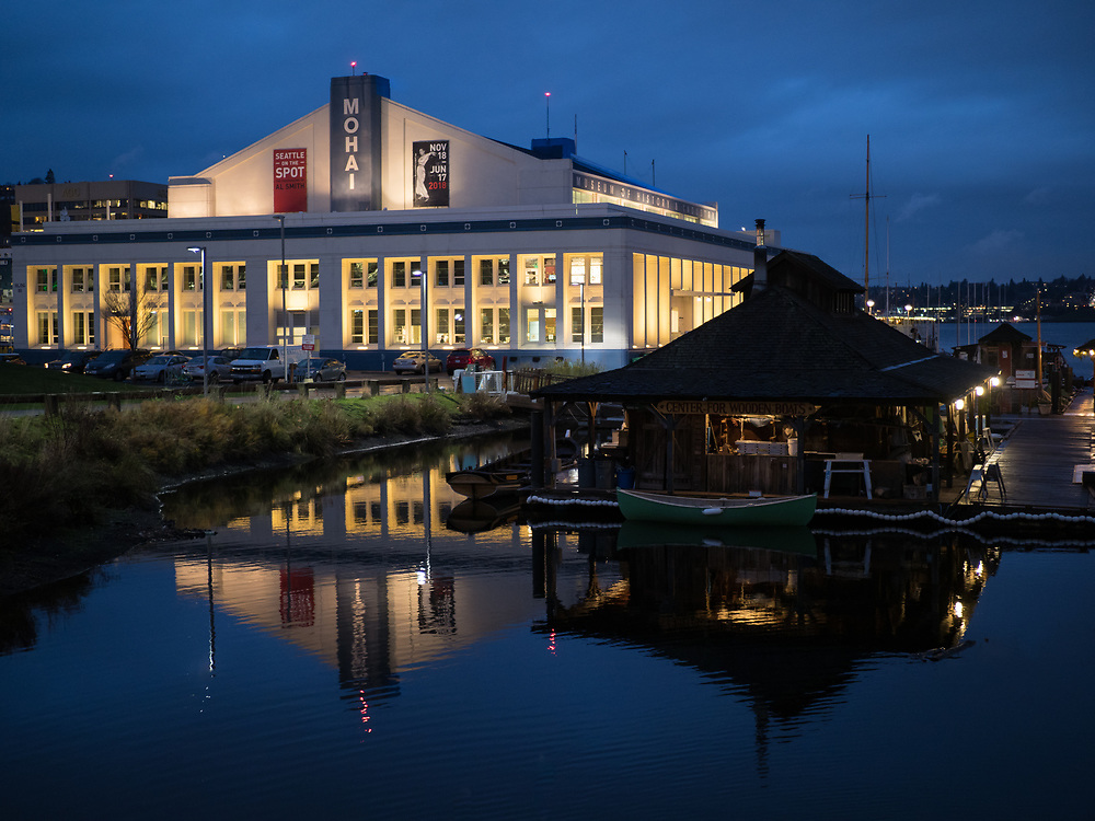 United States, Washington, Seattle, South Lake Union, Museum of History and Industry (MOHAI) and Center for Wooden Boats at dusk
