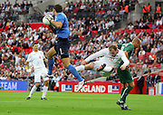 Wayne Rooney in the thick of the action during the international friendly match between England and Slovenia at Wembley Stadium, London on the 5th September 2009